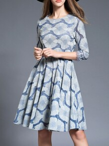 Grey Belted Jacquard A-Line Dress