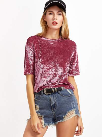 Pink Drop Shoulder Short Sleeve Velvet Top