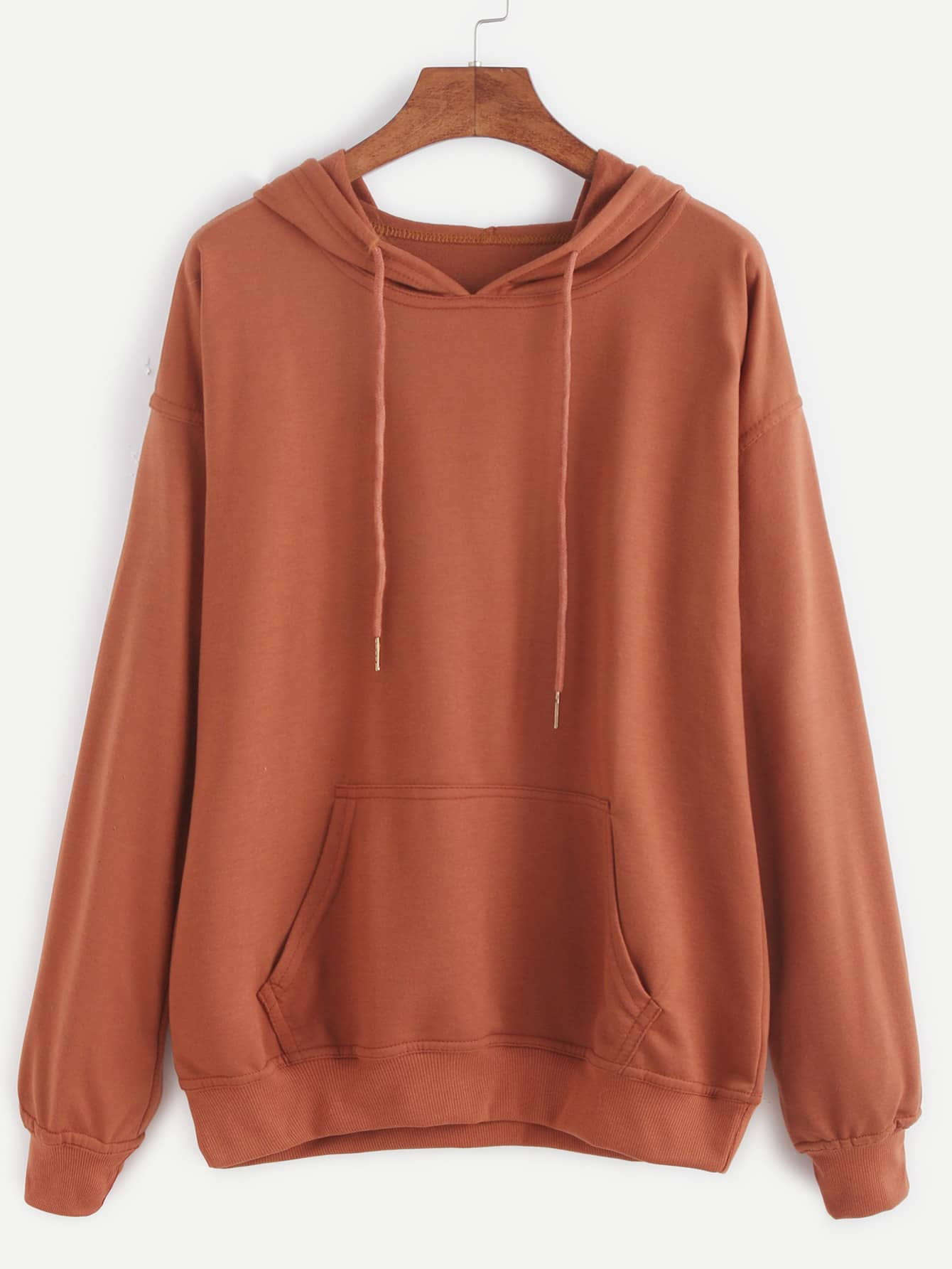 Drop Shoulder Hooded Drawstring Sweatshirt -SheIn(Sheinside)