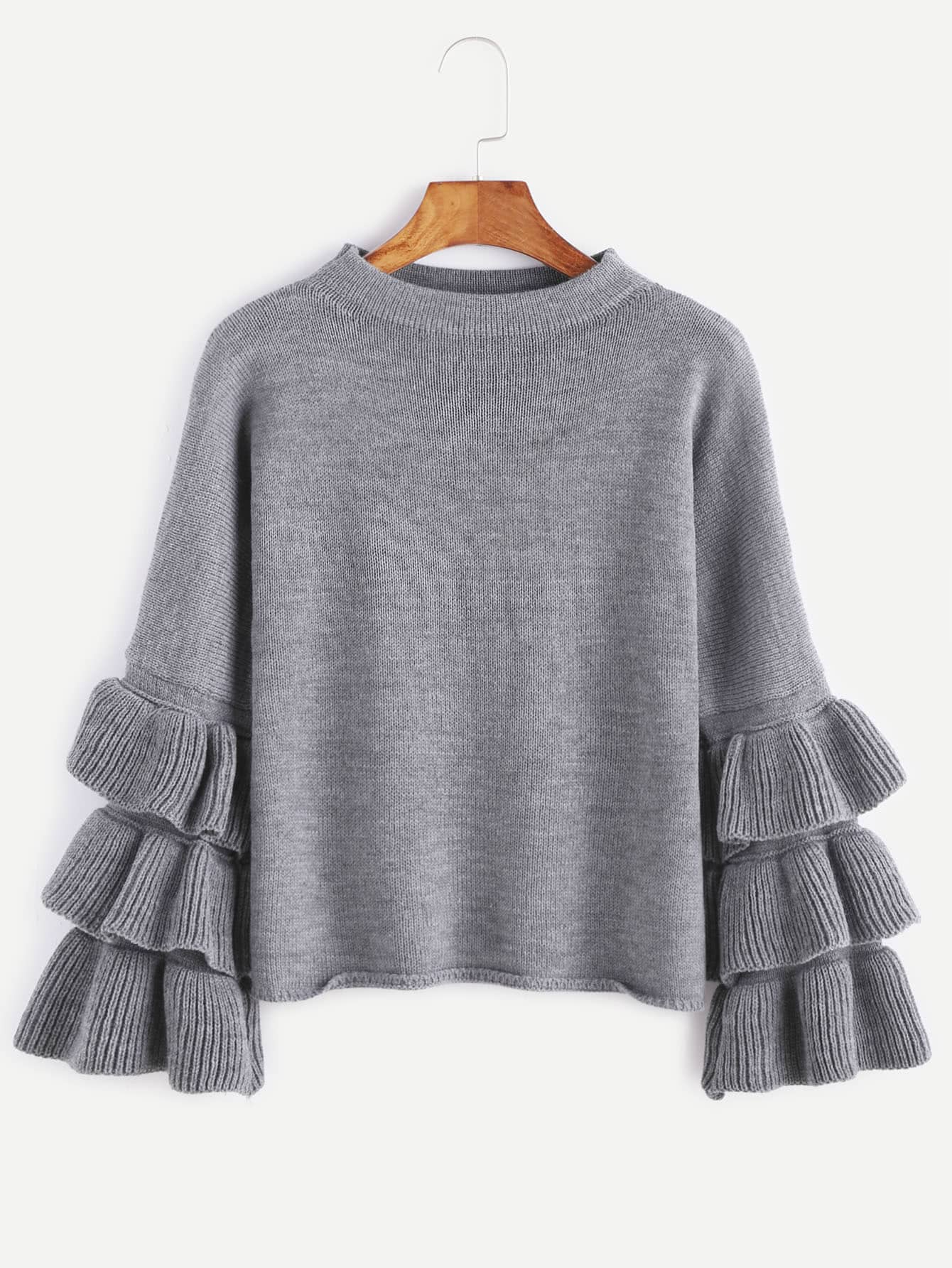 Grey Layered Ruffle Sleeve Pullover Sweater pearl detail layered frill sleeve top