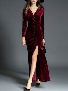 Burgundy V Neck Velvet Split Maxi Dress