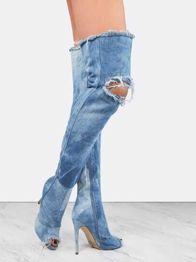 Distressed Denim Stiletto Boots DENIM
