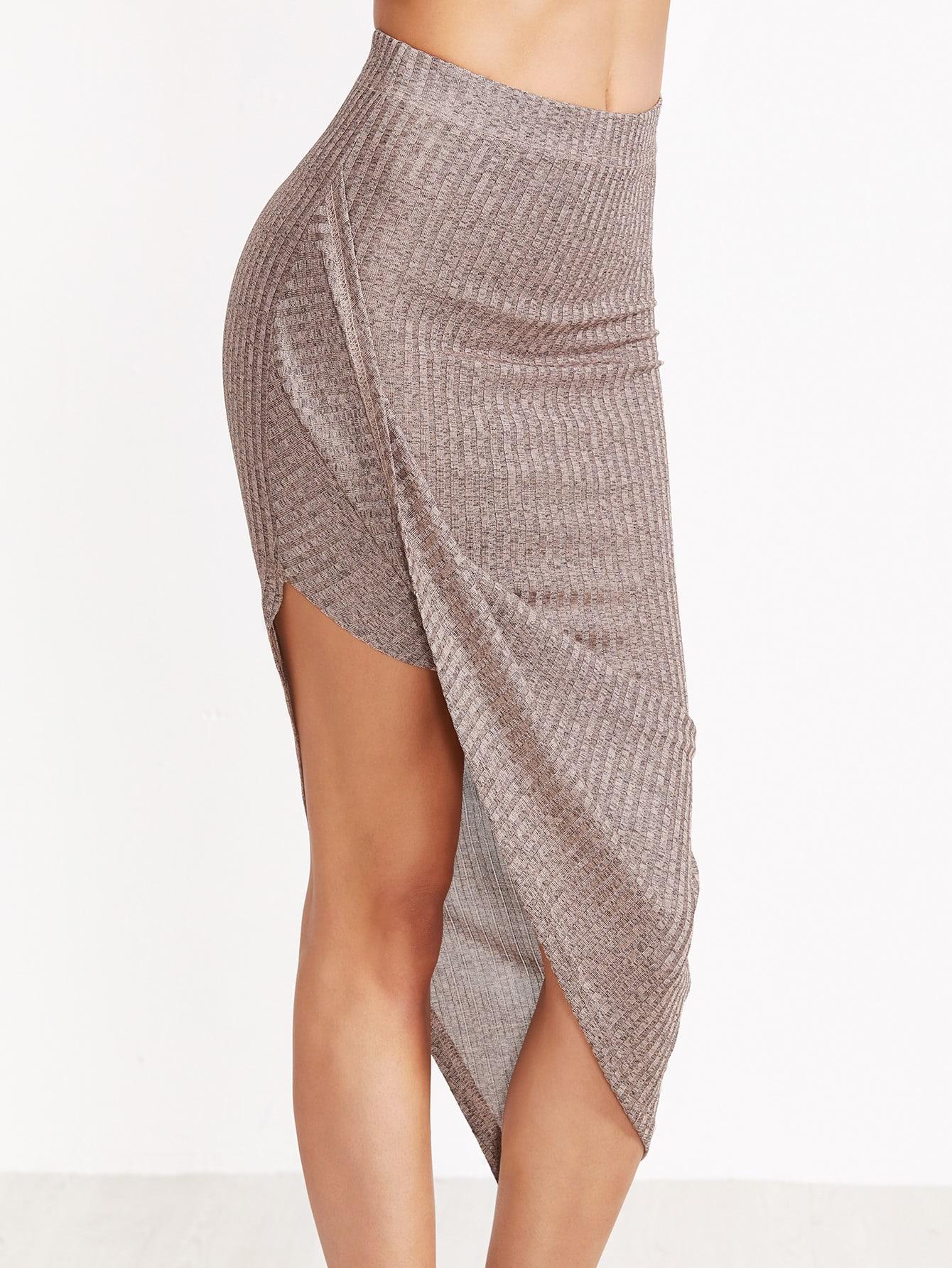 Coffee Marled Ribbed Knit Asymmetric Draped Skirt skirt161116702