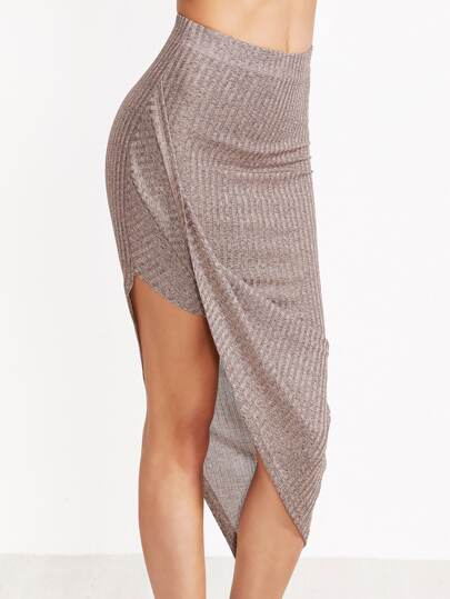 Marled Ribbed Knit Asymmetric Draped Skirt