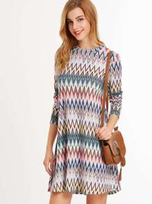 Multicolor Chevron Print Long Sleeve A Line Dress