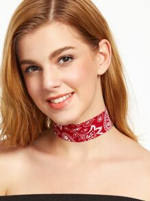 Red Paisley Print Wide Choker Necklace