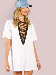 Lace Up Short Sleeve Tunic Tee OFF WHITE