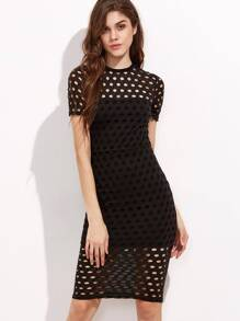 Black Short Sleeve Circle Eyelet Sheath Dress
