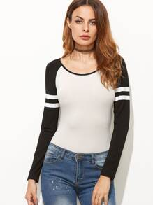 White Contrast Varsity Striped Raglan Sleeve Bodysuit