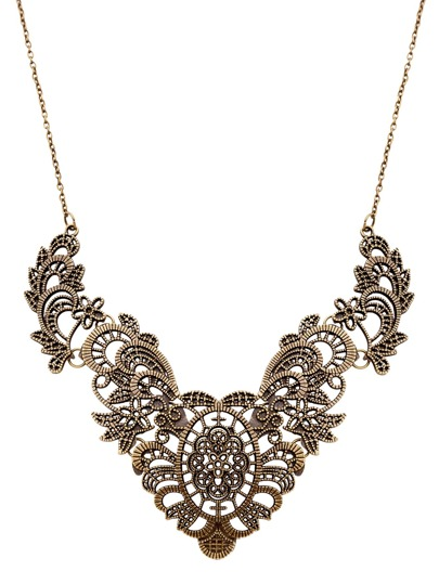 Bronze Floral Hollow Out Bib Statement Necklace