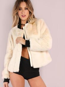 Apricot Collarless Zip Up Faux Fur Coat
