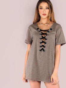 Plunging Lace Up Cuffed Sleeve Tee DARK TAUPE
