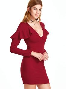 Burgundy Deep V Neck Ruffle Trim Bodycon Dress