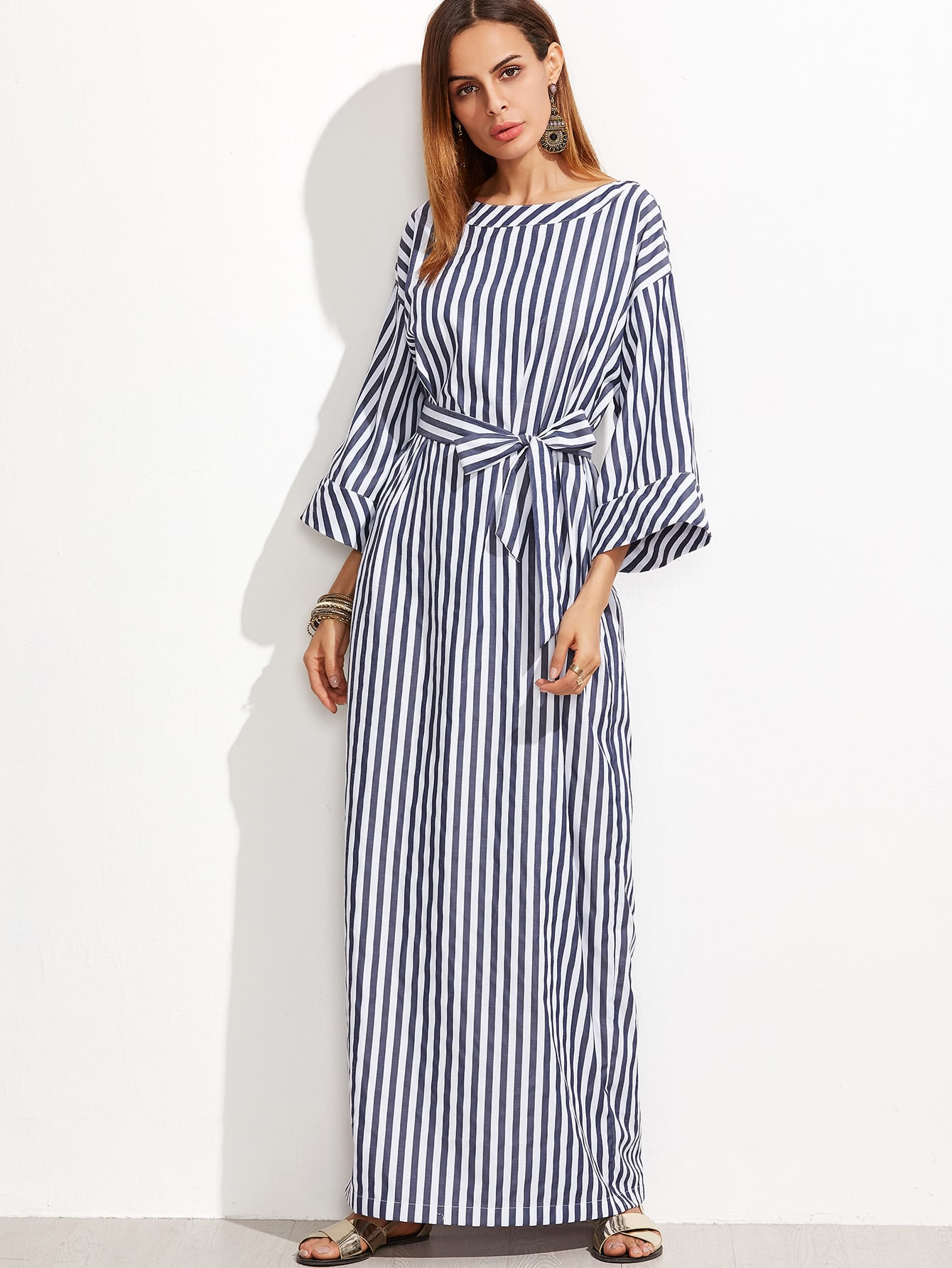 Navy And White Striped Self Belt Roll Cuff Maxi DressNavy And White Striped Self Belt Roll Cuff Maxi Dress<br><br>color: White<br>size: S,XS