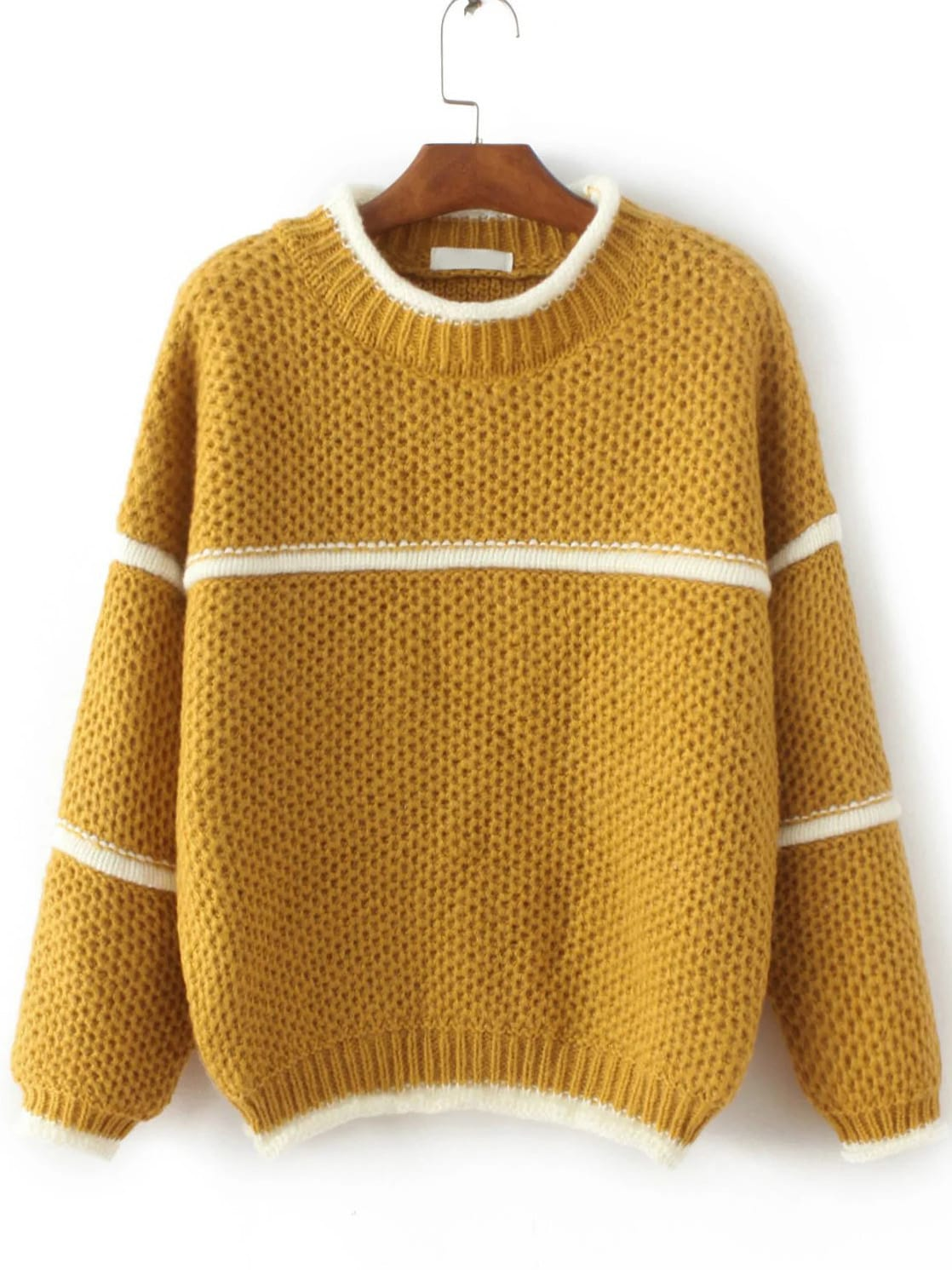 Yellow Contrast Trim Crew Neck SweaterYellow Contrast Trim Crew Neck Sweater<br><br>color: Yellow<br>size: one-size