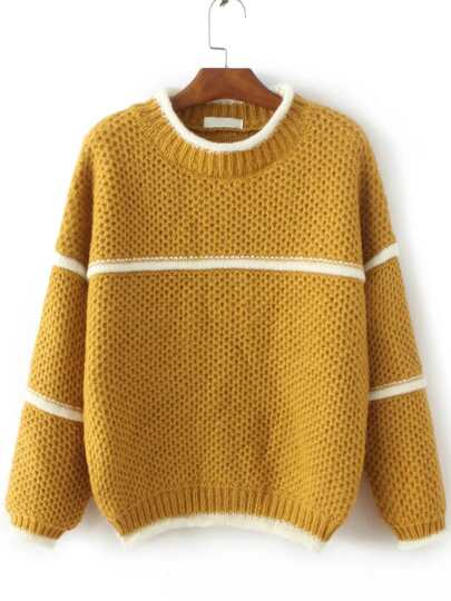 Yellow Contrast Trim Crew Neck Sweater