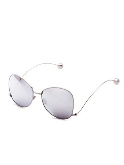 Silver Frame Large Lens Metal Ball Stylish Glasses