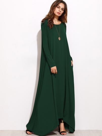 فستان ماكسي أخضر كم طويل