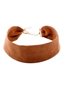 Brown Suede Vintage Wide Choker Necklace