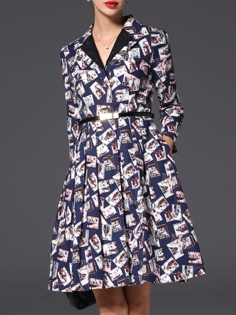 Фото Navy Lapel Belted Pockets Print A-Line Dress. Купить с доставкой