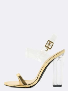 Metallic Transparent Strap Crystal Heels GOLD