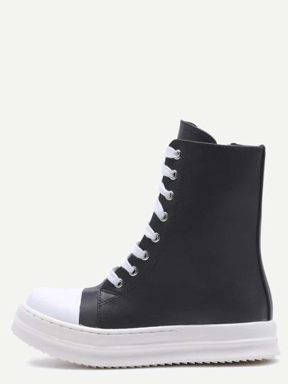 Black PU Cap Toe Lace Up High Top Boots