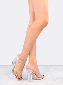 Clear Strap Metallic Perspex Heels SILVER