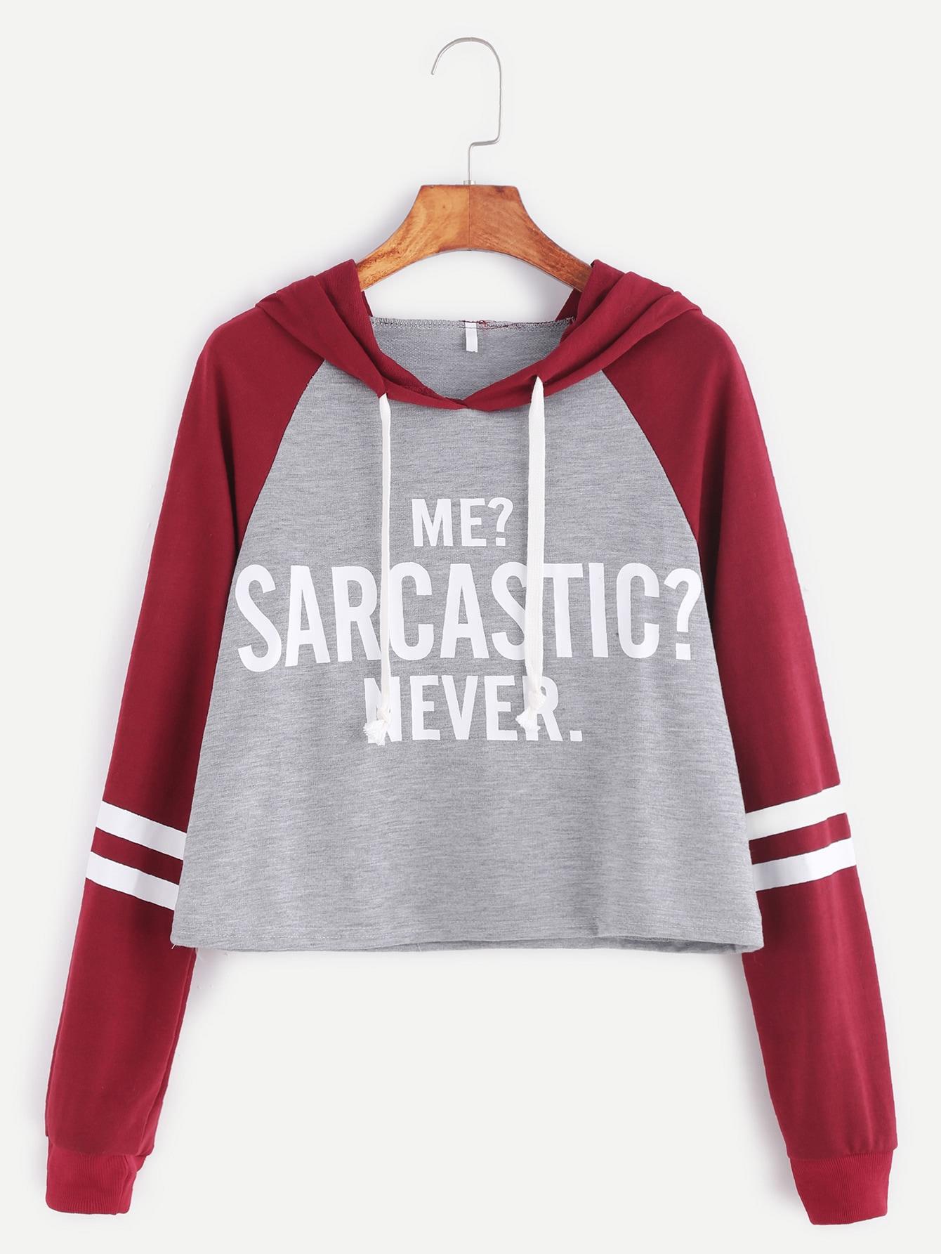 Contrast Raglan Sleeve Hooded Slogan Print Crop Sweatshirt sweatshirt161108101