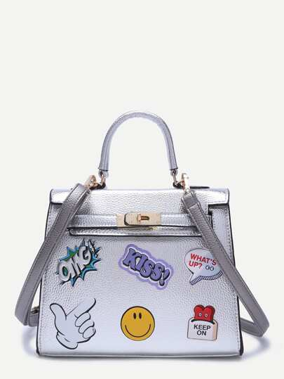 Silver Pebbled PU Logo Print Handbag With Strap