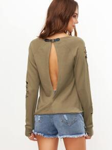 Sweat-shirt renversé fendu au dos déchiré -vert olive