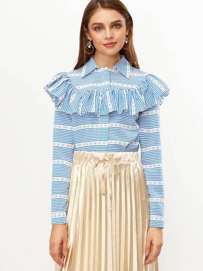 Blue And White Striped Ruffle Trim Blouse