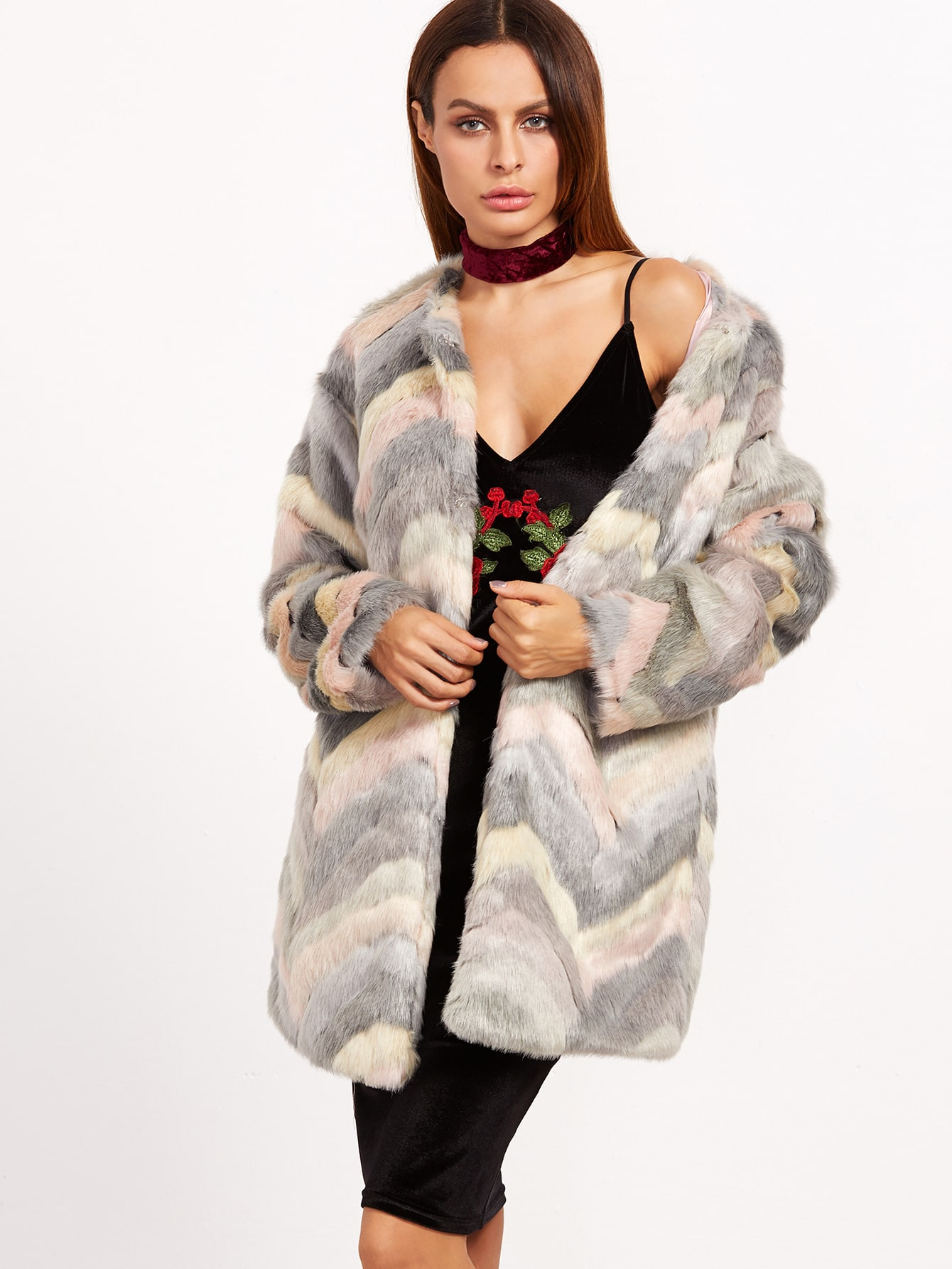 Coats Multi Faux Fur Collarless Elegant Short Autumn Winter Color Block Fabric has no stretch Long Sleeve Outerwear.