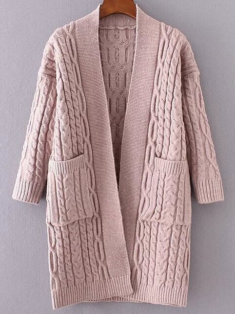 Cable Knit Ribbed Trim Sweater Coat With Pocket sweater161102204