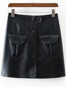 Black Button PU Skirt With Pocket