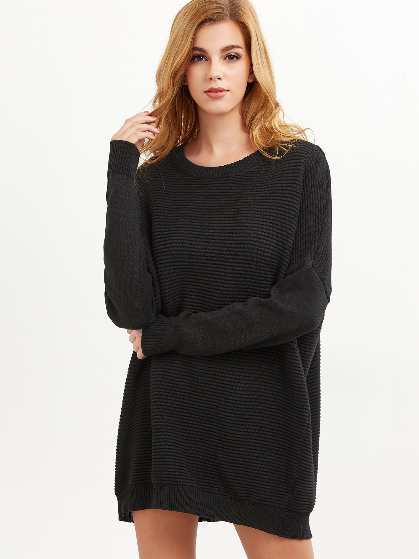 Black Ribbed Knit Drop Shoulder Oversized Sweater sweater161107460
