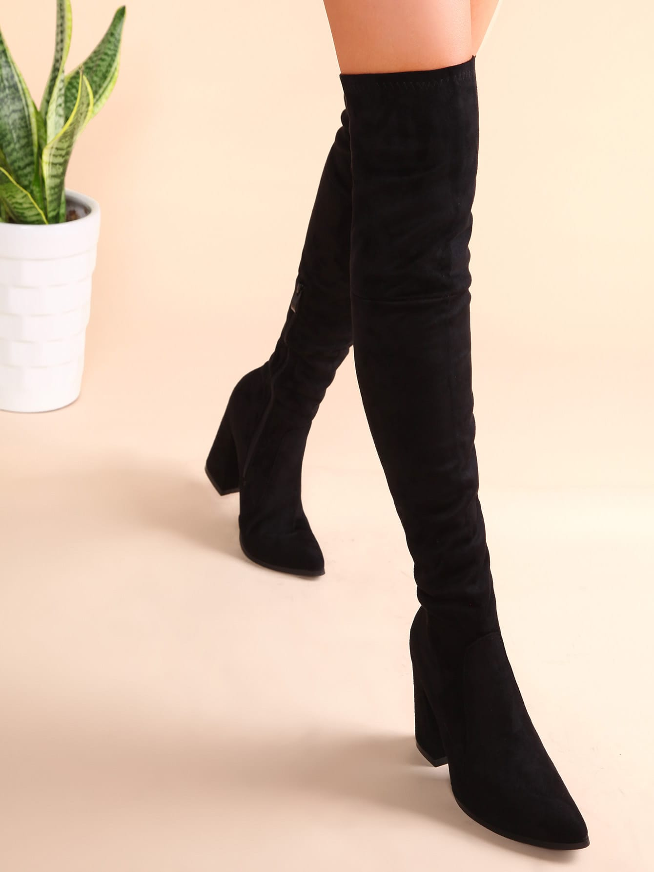 Black Point Toe Thigh High Chunky Heel Suede Boots shoes161109813