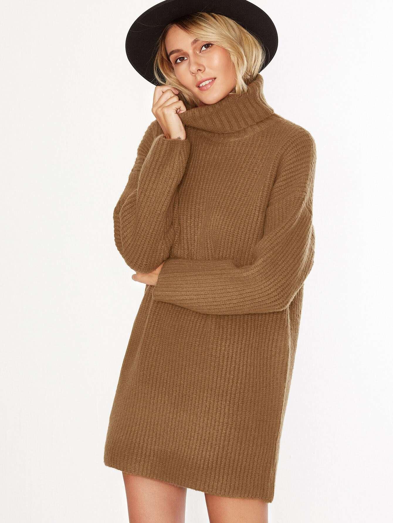 camel turtleneck drop shoulder sweater dress shein sheinside. Black Bedroom Furniture Sets. Home Design Ideas
