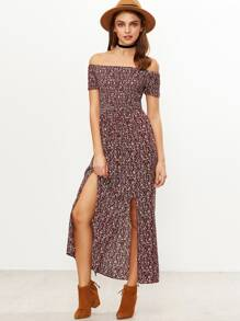 Shirred Slit Front Calico Print Dress