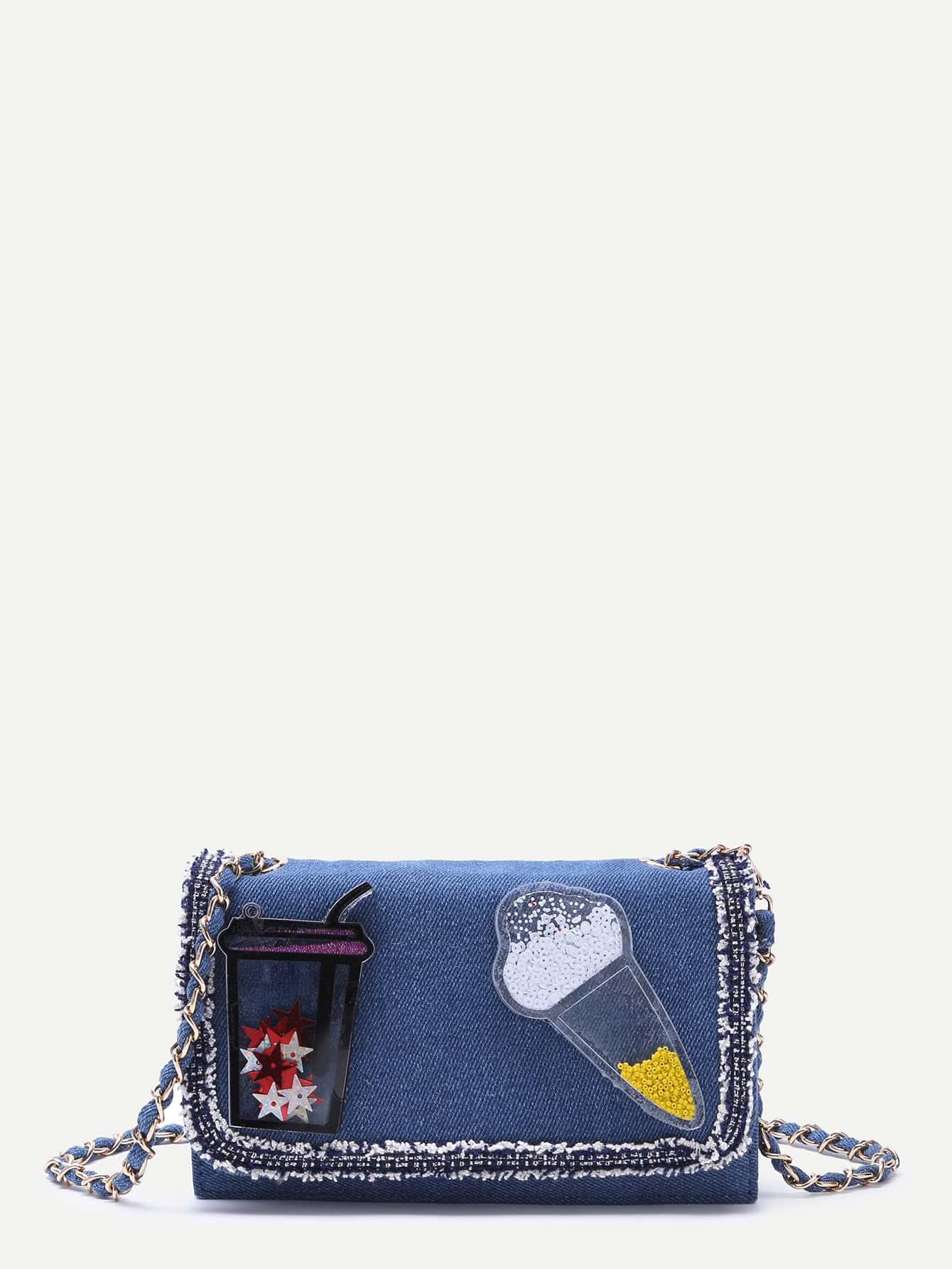 Фото Blue Denim Plastic Embellished Raw Edge Flap Messenger Bag. Купить с доставкой