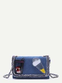 Sac d'enveloppe en jean avec plastique - bleu