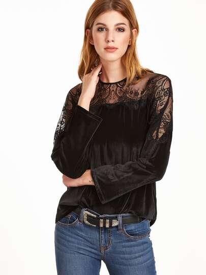 Black Keyhole Back Sheer Lace Sleeve Velvet Top