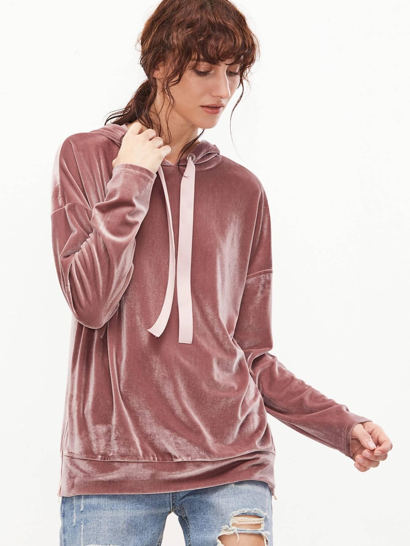 Pink Drop Shoulder Zip Slit Side Velvet Hoodie two tone drop shoulder sweatshirt