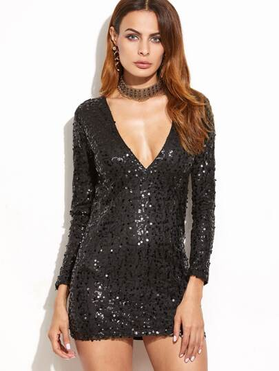 Black Sequin Deep V Neck Long Sleeve Bodycon Dress
