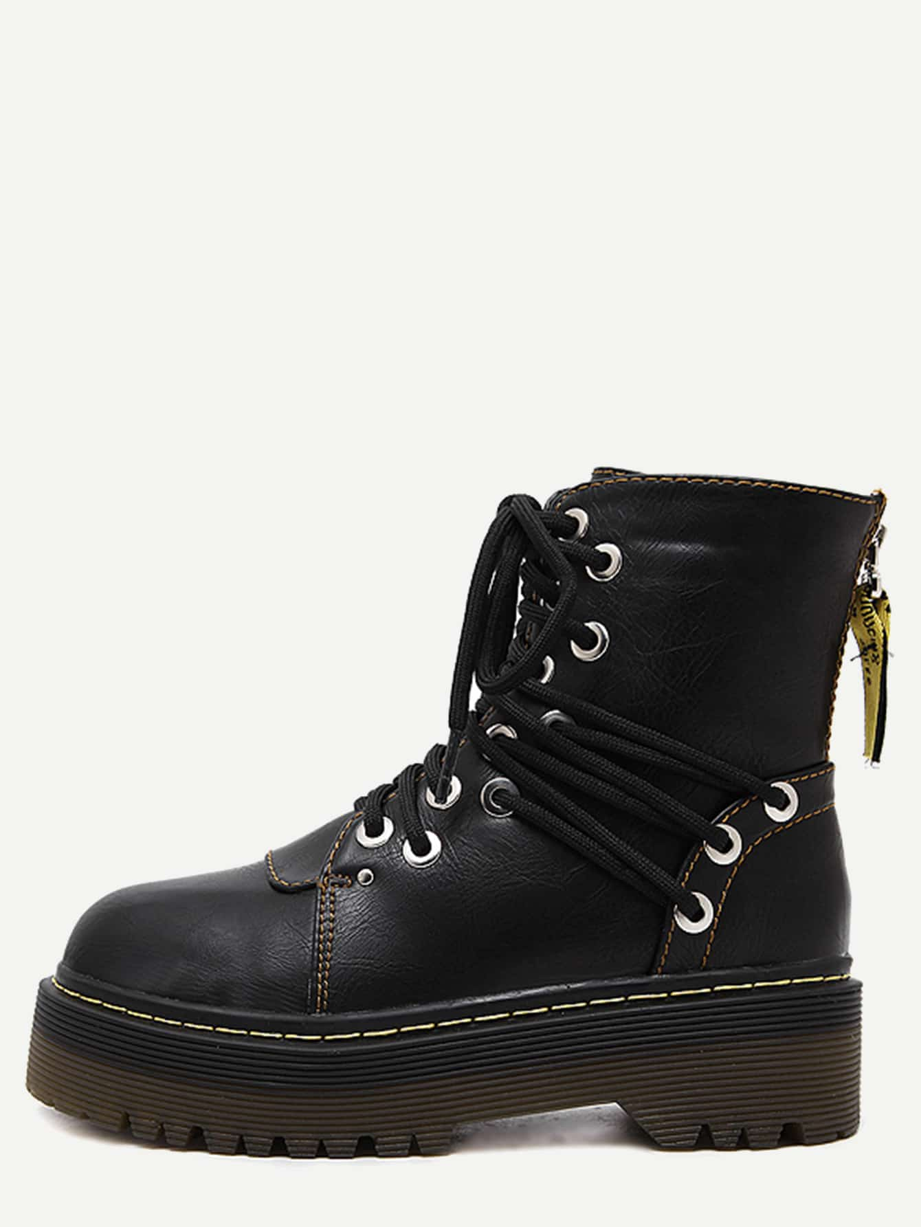 Black Round Toe PU Lace Up Martin Boots shoes161108813