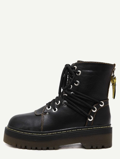 Black Round Toe PU Lace Up Martin Boots