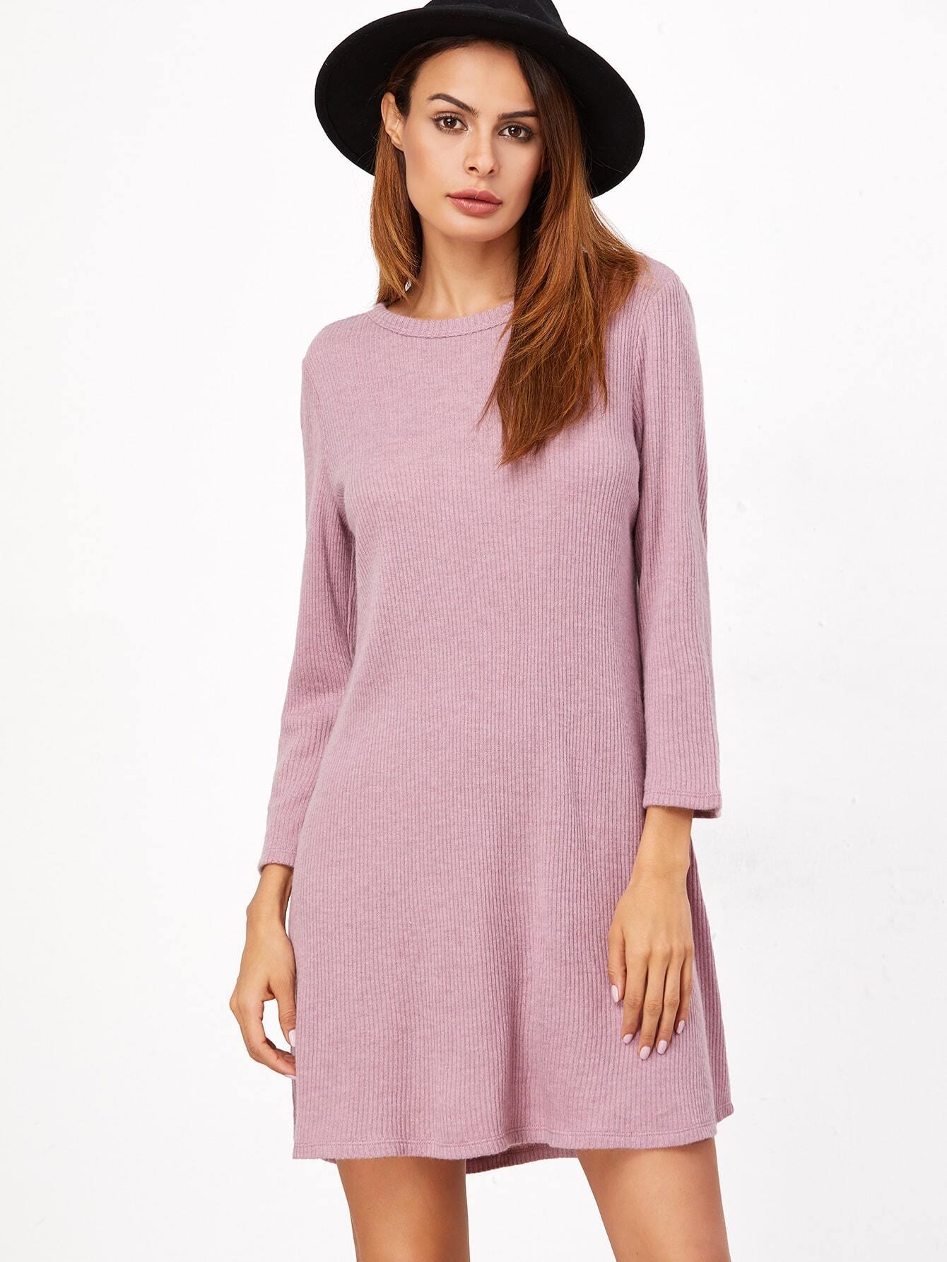 Pink Ribbed Knit A Line Dress dress161111717