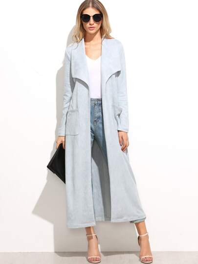 Blue Suede Drape Collar Coat With Pocket