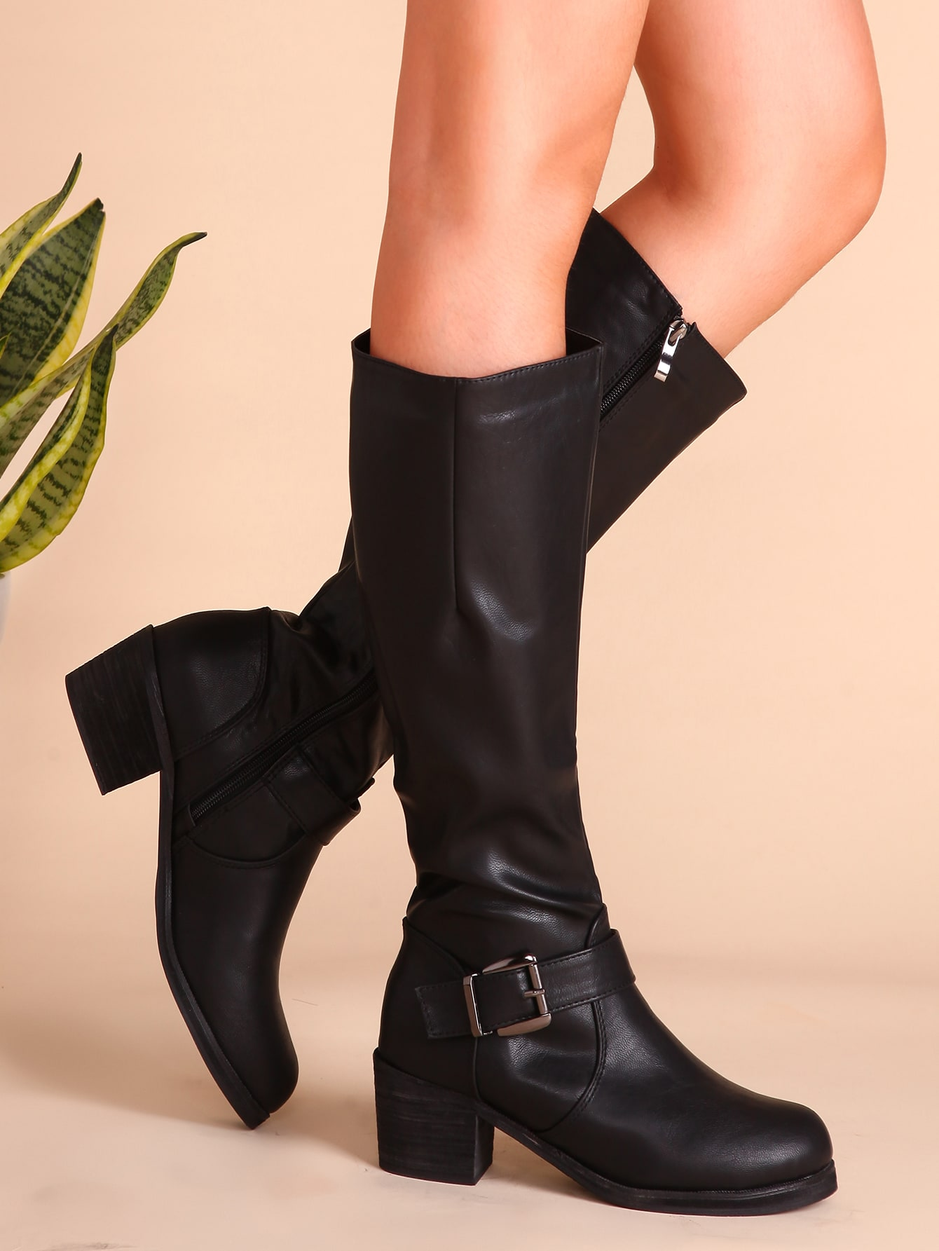 Black Buckled PU Chunky Heel Tall Boots shoes161121801