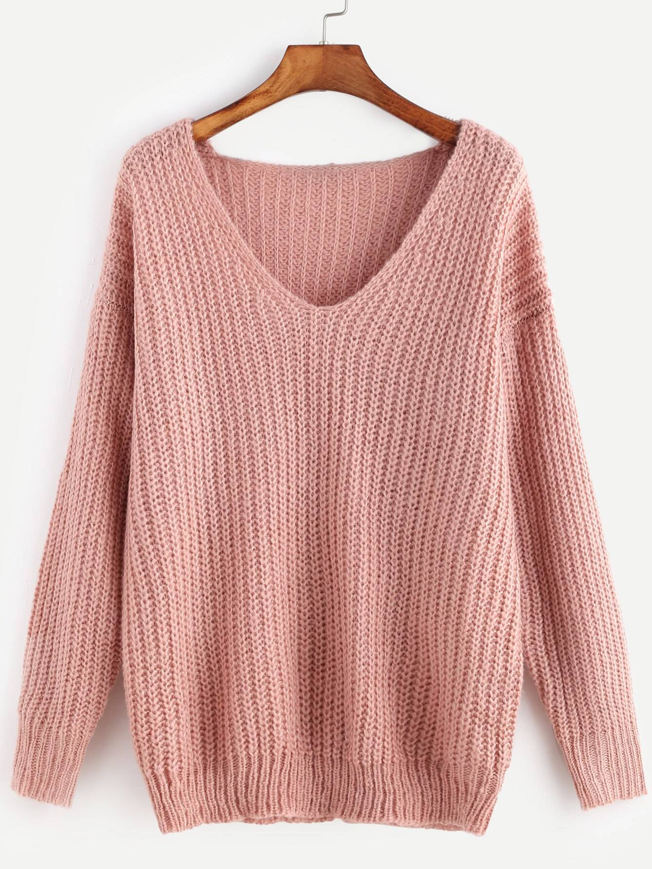 Pink Ribbed Knit V Neck Drop Shoulder Sweater dark grey ribbed trim drop shoulder lace up sweatshirt