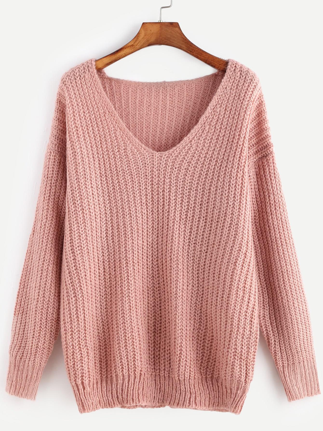 Pink Ribbed Knit V Neck Drop Shoulder Sweater sweater161104402